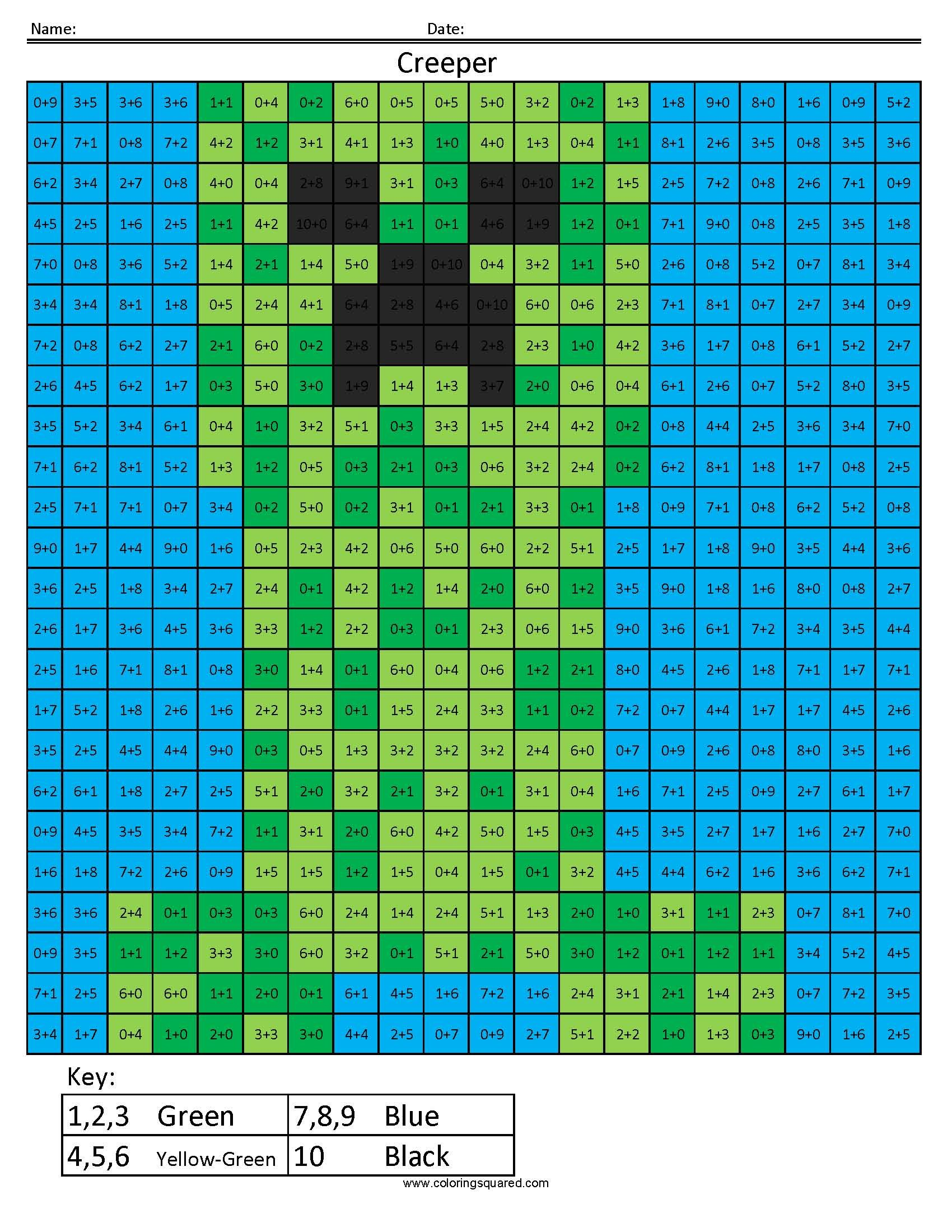 Minecraft Coloring Squared Page