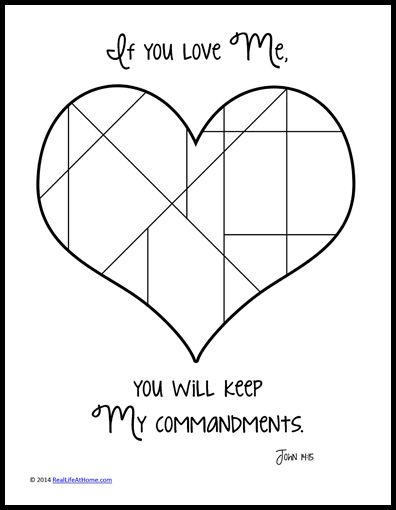 If You Love Me, Keep My Commandments Coloring Page