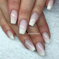 Faded french & white glitter #naglar #nagelkr # ...
