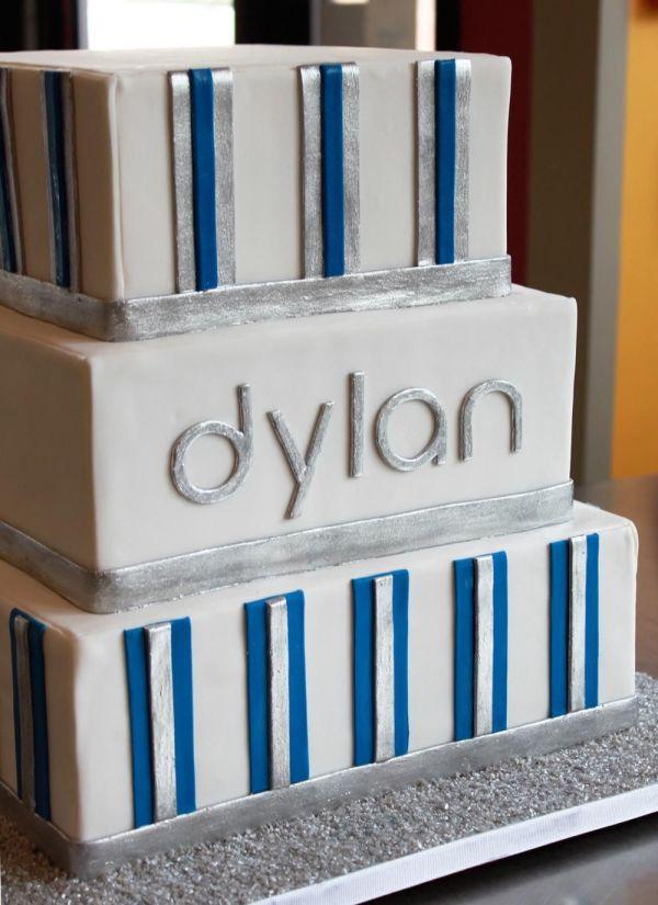 Modern Stripe Bar Mitzvah Cake Whipped Bakeshop