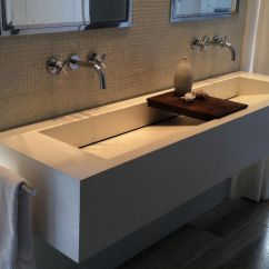 Double Kitchen Sink Modern Faucets Sophisticated White Commercial Trough With Wooden