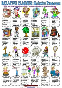 Relative Pronouns ESL Grammar Exercise Worksheet