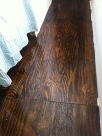 Stained plywood floor! We remodeled an old trailer house ...