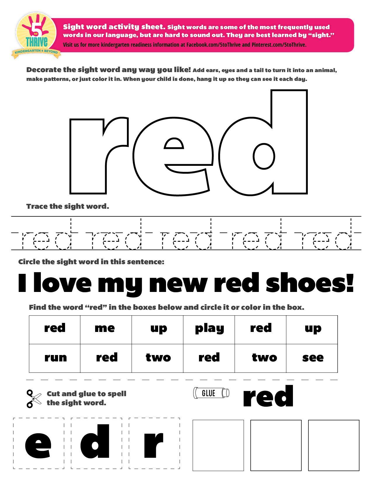 Kindergarten Worksheet Color Red
