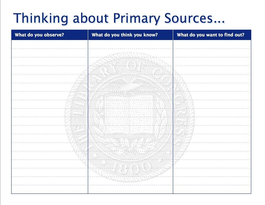 Printables Primary Sourceysis Worksheet