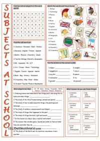 School Subjects Vocabulary Exercises | English | Pinterest ...