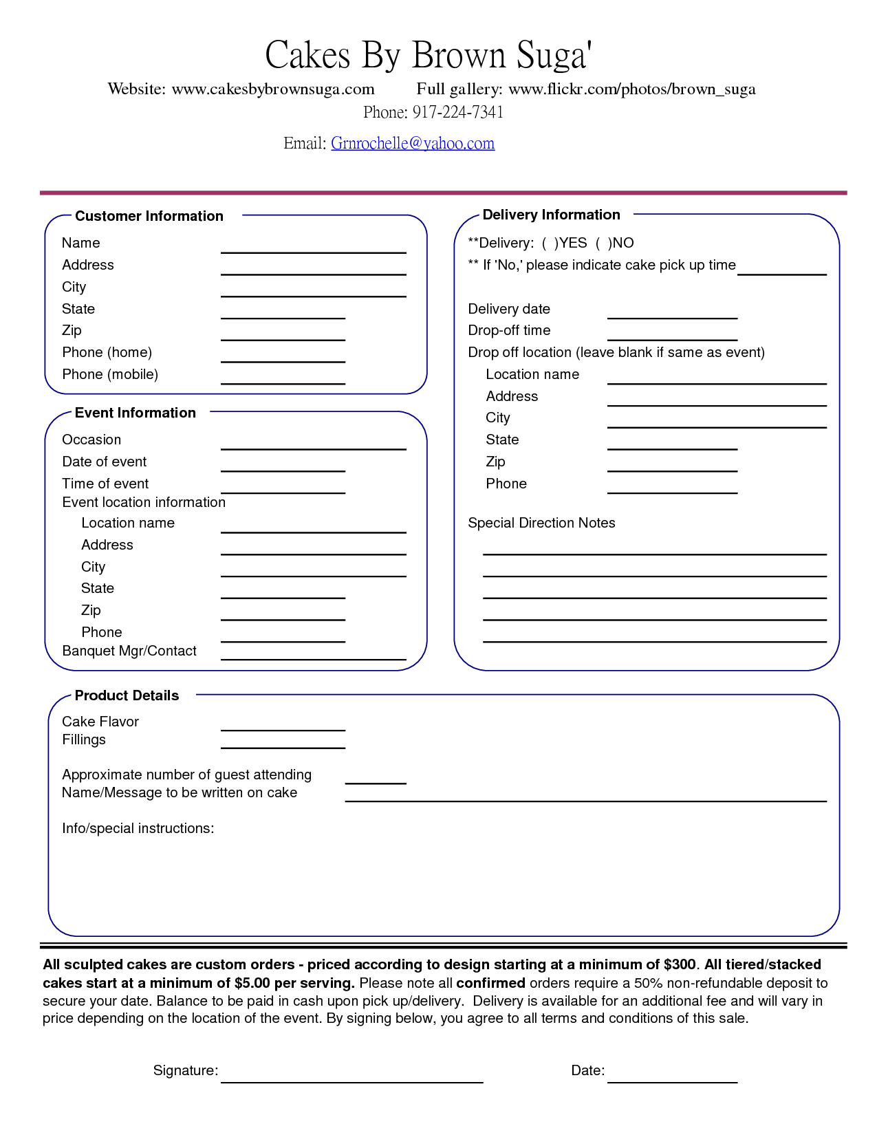 Catering Consultation Worksheet