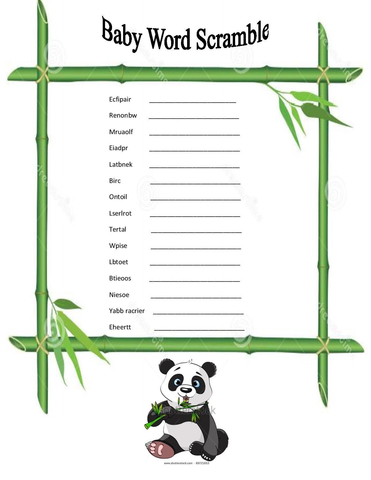 Dyi Panda Themed Baby Word Scramble Game