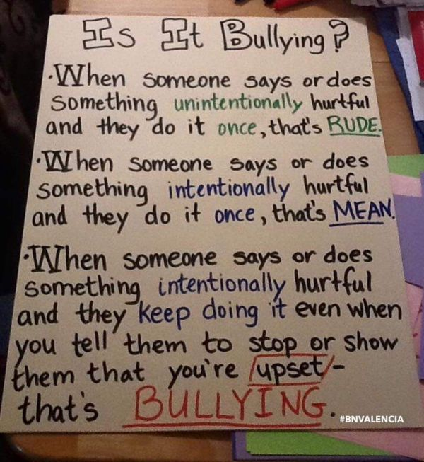 Bullying Anchor Chart Poster Classroom
