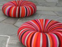 CHAIRS = inner tubes wrapped in fabric. Kind of genius ...