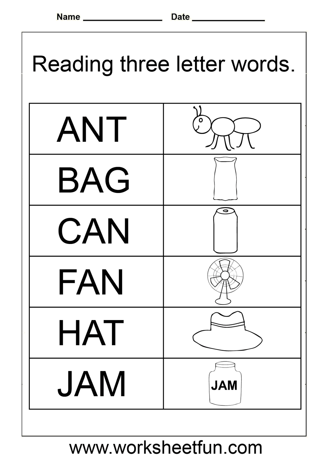 3 Letter Words Worksheets