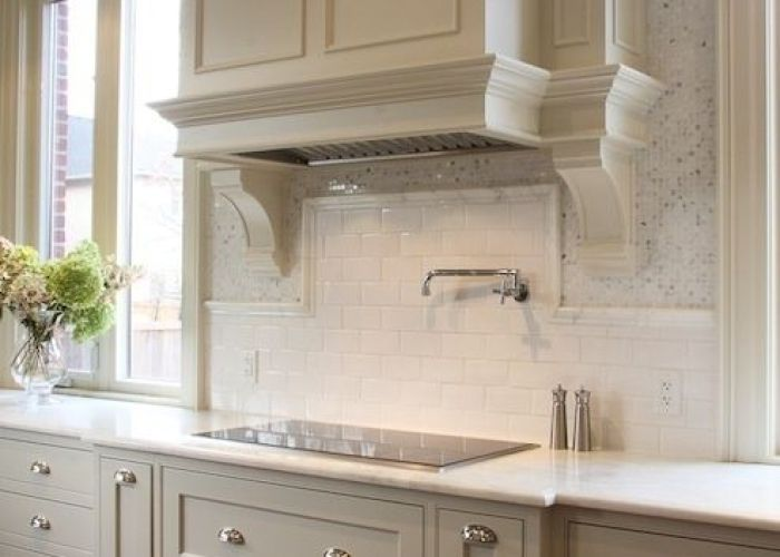 This is really pretty too light gray cabinets with white subway tile backsplash kitchen and counter for bathroom pinterest also