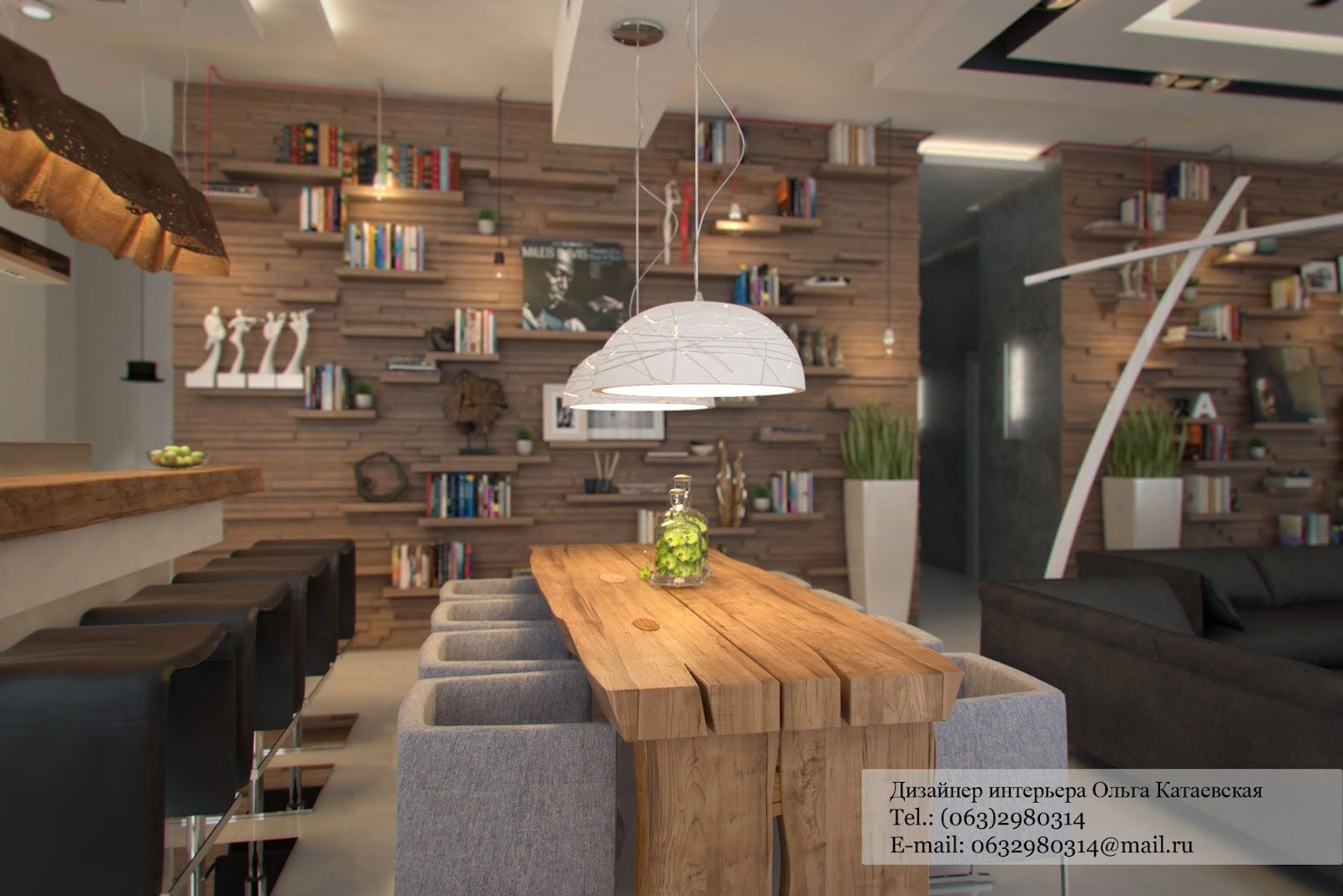 Small Modern Rustic Studio Apartment Interior Lighting