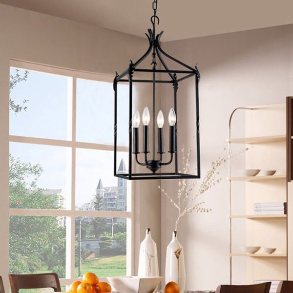 Beatriz 4 Light Black Classic Iron Hanging Lantern Chandelier Ping Great