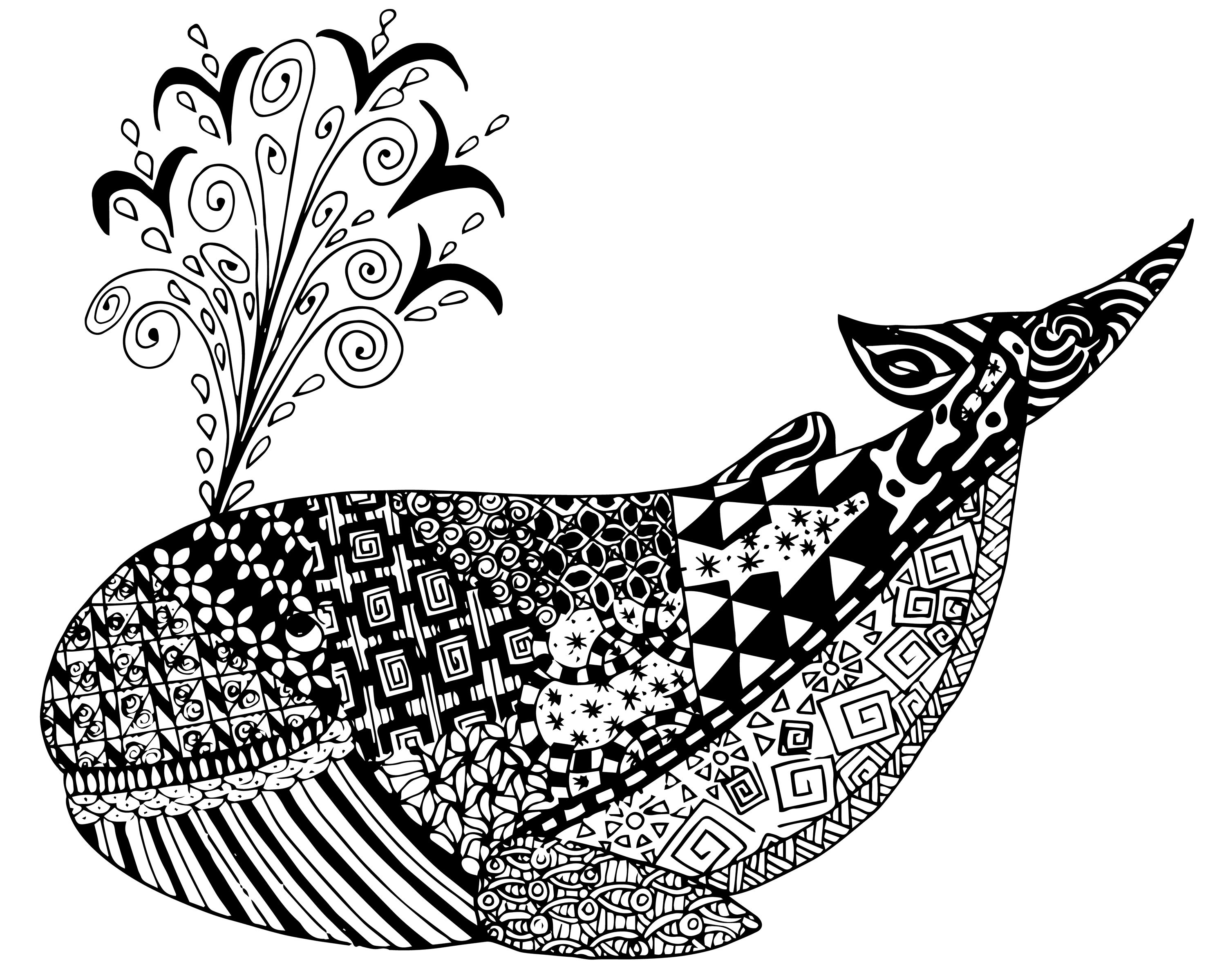 FREE Whale Zen Tangles Adult Coloring Page ♋Adult