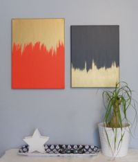 diptych in navy, orange, gold // cheap and pretty wall art ...