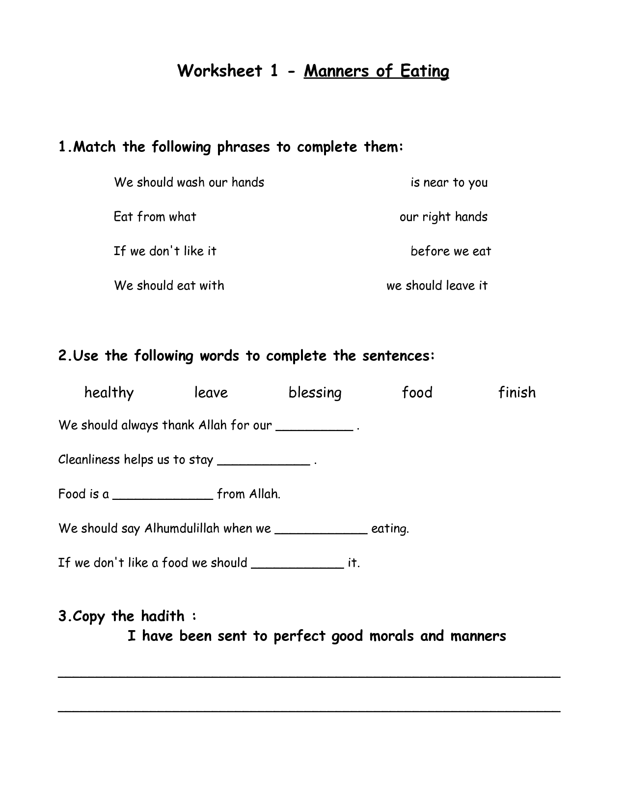Table Etiquette Worksheet