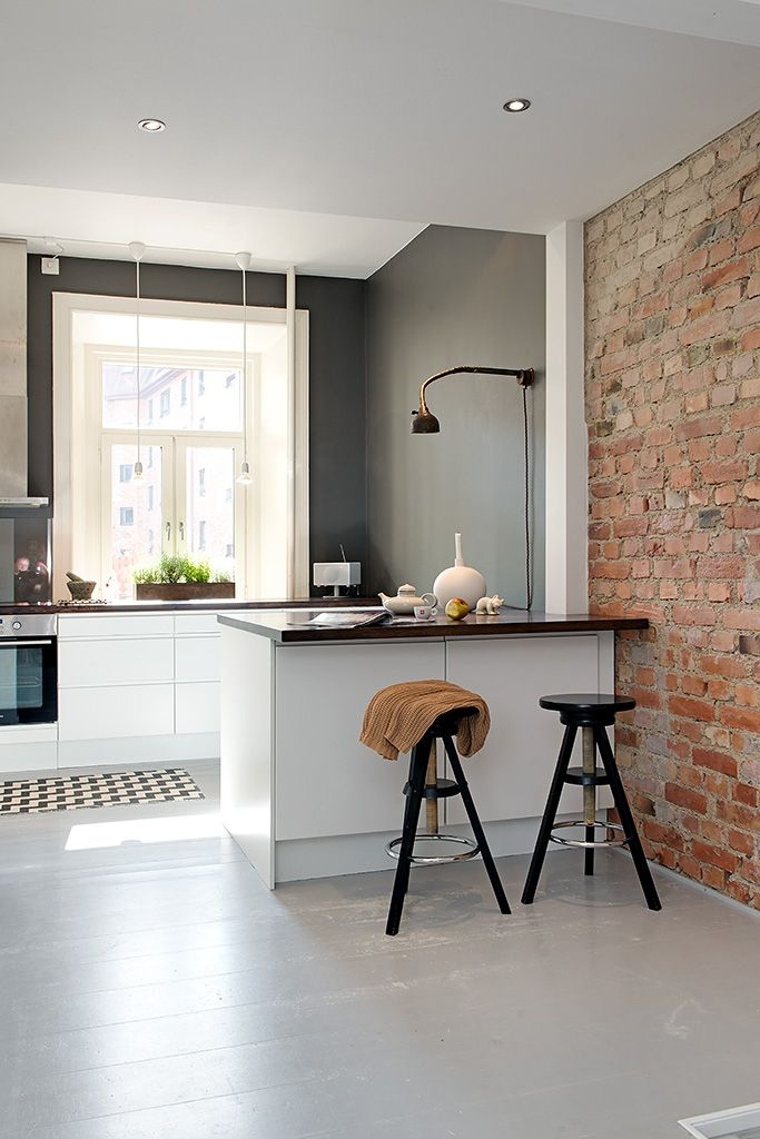 Grey walls in the kitchen and brick wall for bar home decor dreams also white  memories  en dos nivells painted floorboards rh pinterest