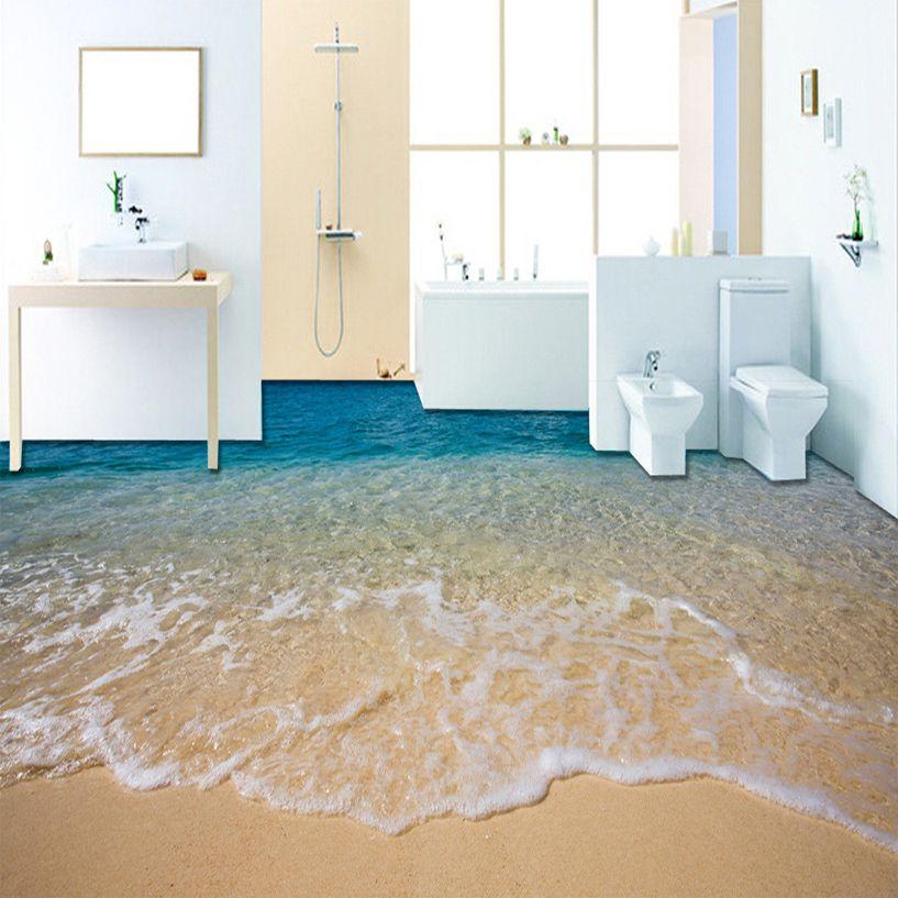 Custom 3D Beach Sea Water Living Room Bedroom Bathroom