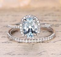 Oval Aquamarine Engagement Ring Sets Pave Diamond Wedding ...