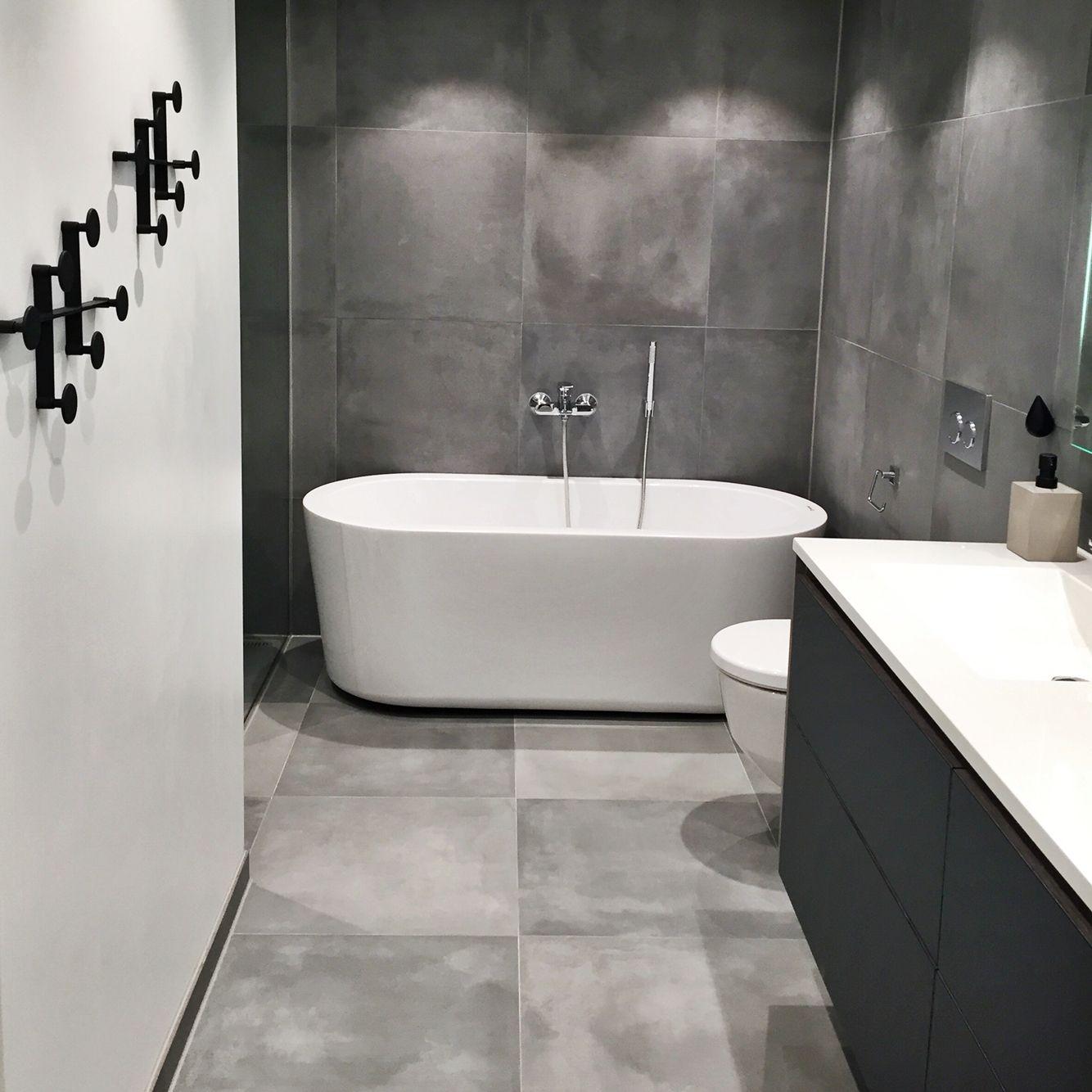 Bathroom grey cement tiles 60x60   Pinteres