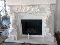 White Marble Angel Cherubim French style fireplace