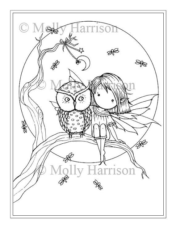 little fairy owl fireflies moon coloring page