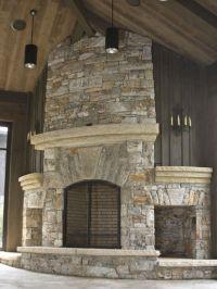 stone+fireplace+storage | Native stone fireplace with arch ...