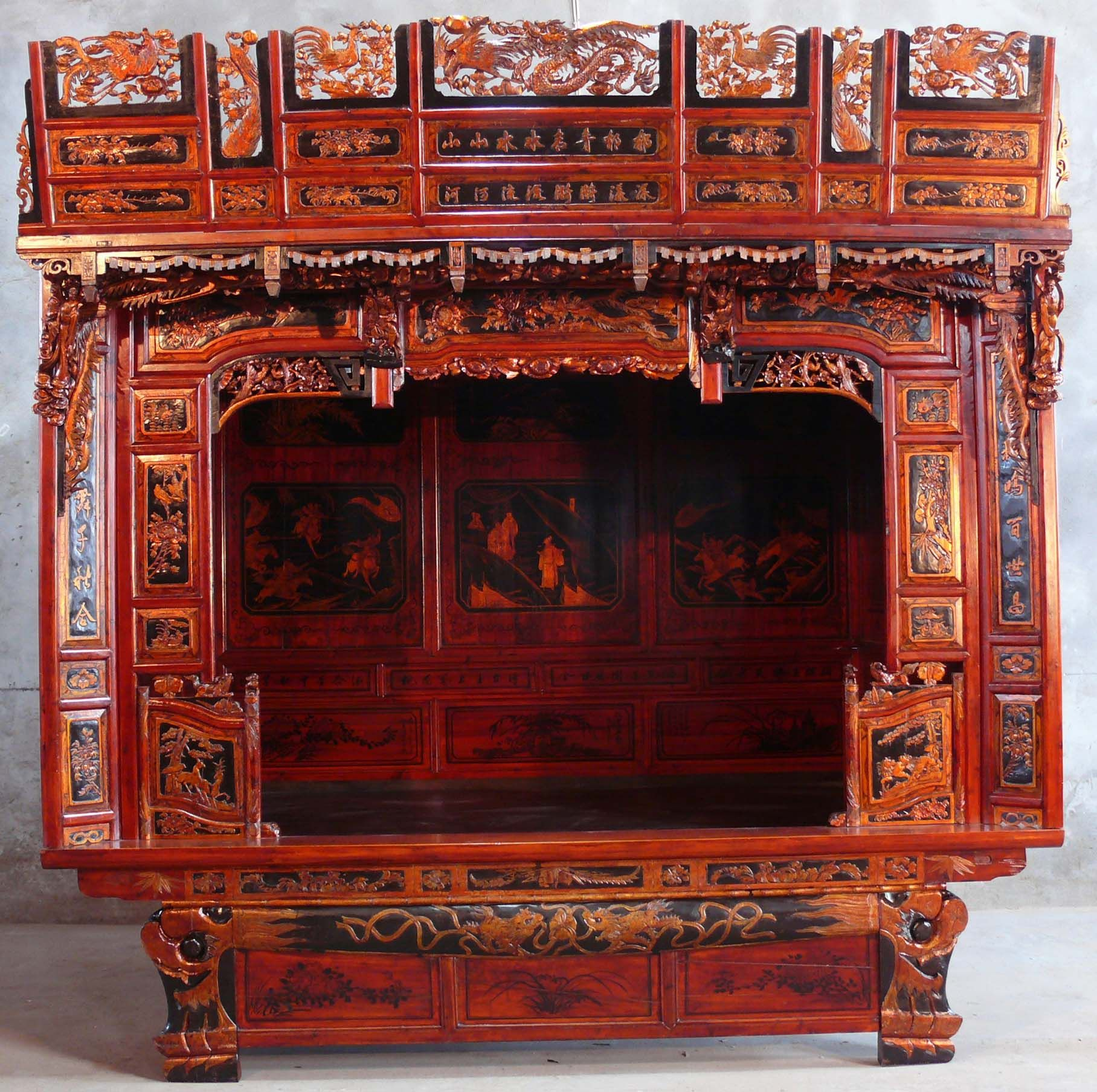 chinese wedding sedan chair reclining padded beach with footrest beds traditional asian furniture