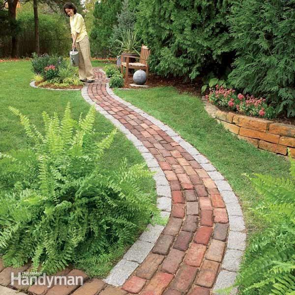 Build A Brick Pathway In The Garden Gardens The Family Handyman