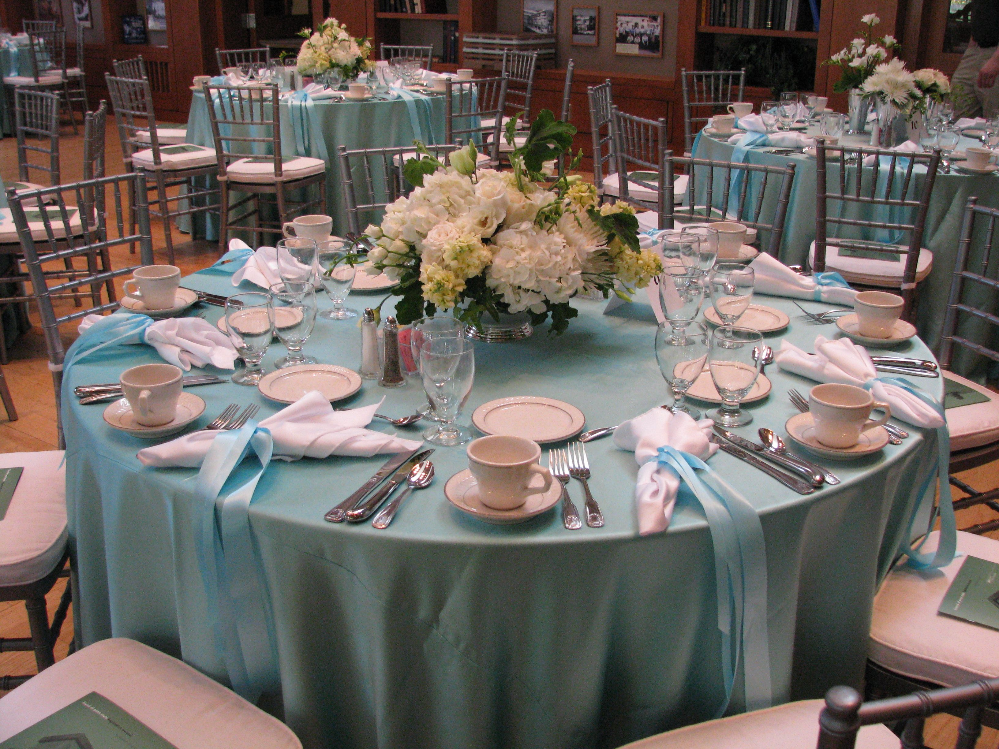 tiffany blue wedding chair covers revolving adjustment themed luncheon using satin