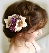 Purple hair clip, bridal hair accessories, purple hair
