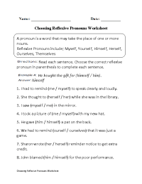 Choosing Reflexive Pronouns Worksheet Part 1