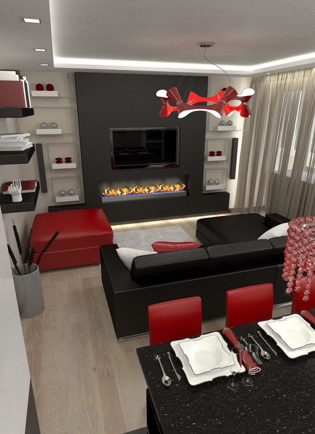 Red black and white living room decor furniture large size also rh pinterest