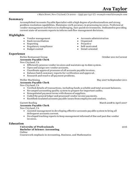 Accounts Payable Specialist Resume Examples Accounting & Finance