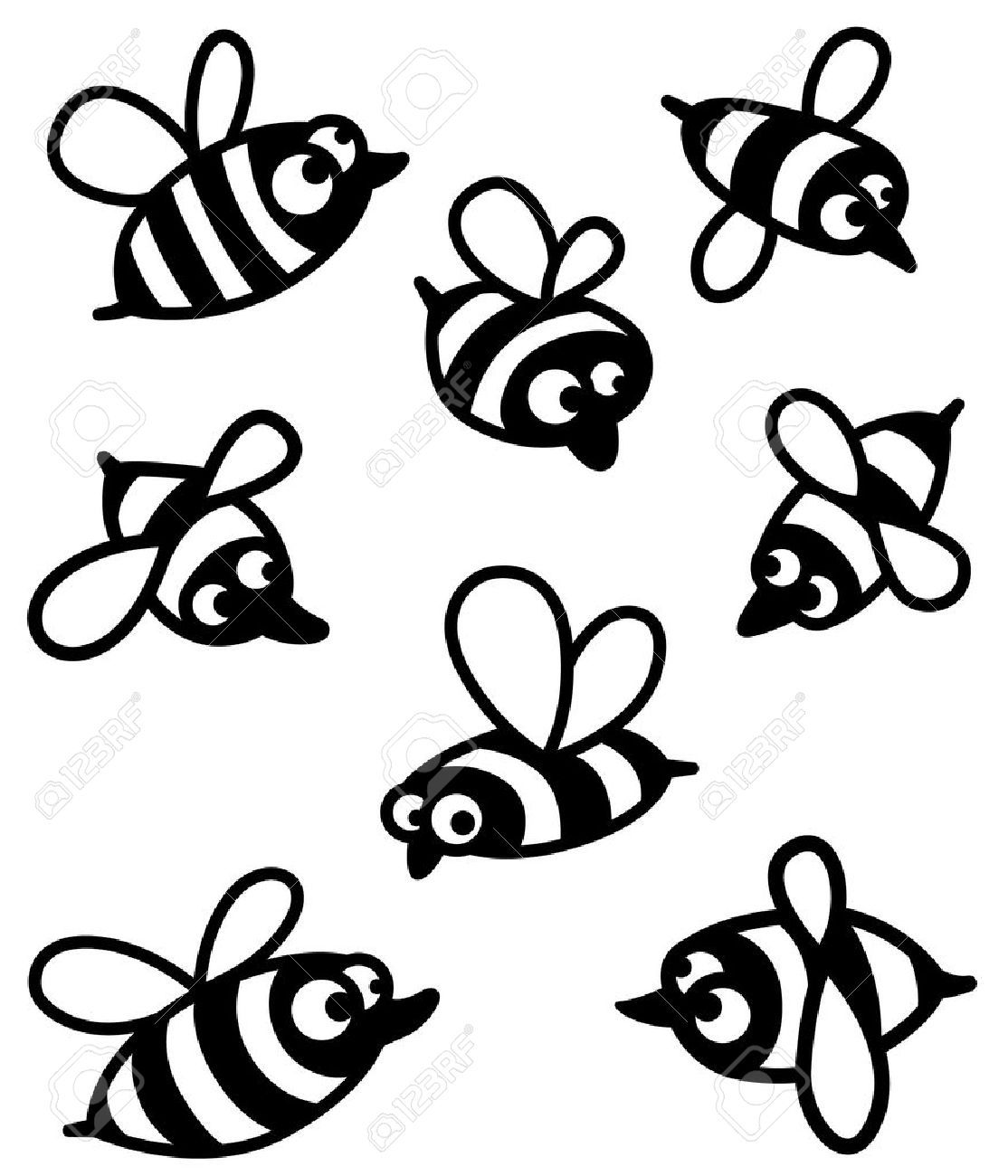 Set With Cute Bee Silhouettes Royalty Free Cliparts