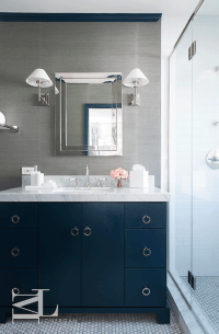 Navy blue and gray bathroom features walls clad in grey ...