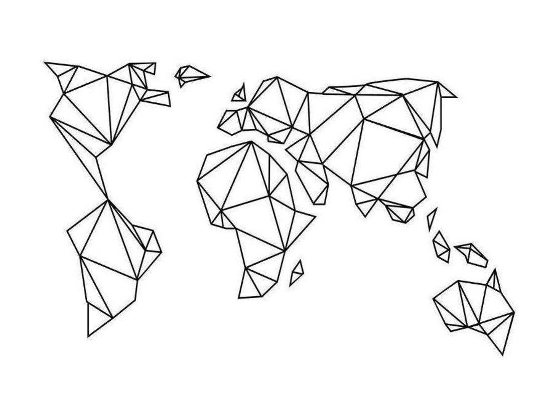 Geometrische Erde als Leinwandbild von Eulenschnitt  JUNIQE  Tattoo  Pinterest  Juniqe