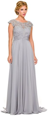 Plus Size Silver Formal Gown Cap Sleeve Empire Waist Full
