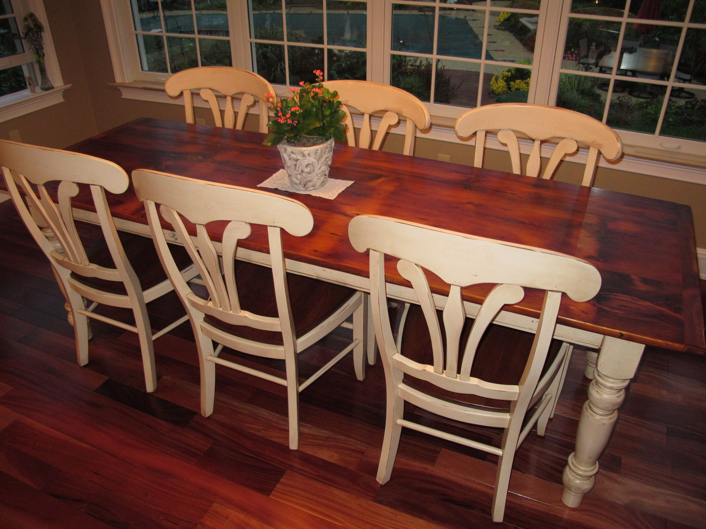 Farm Chairs White Pine Barn Wood Table With Antique White Legs And