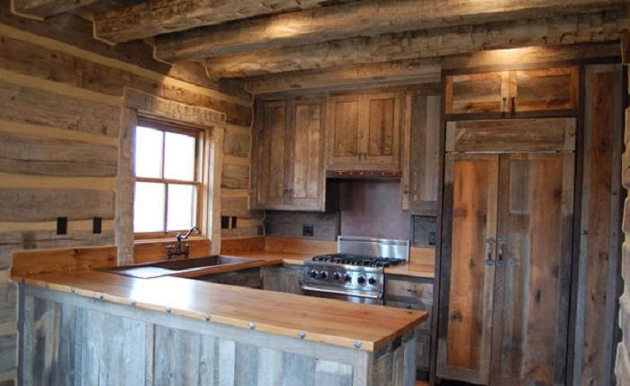 OldStyled Reclaimed Wood Kitchen Cabinet for Rustic House