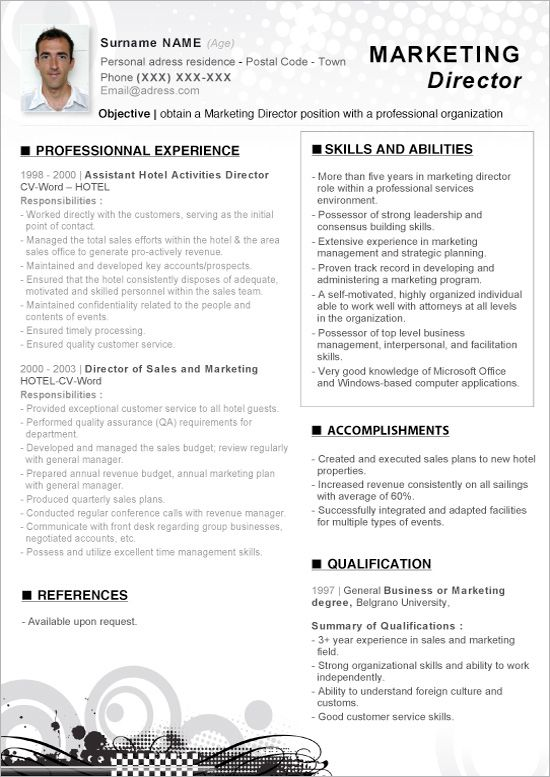 Click Here To Download This Word Resume Marketing Director