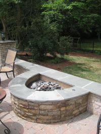 Half Circle Stacked Stone Firepit | Fireplaces and ...