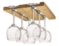 Wine Glass Holder Display Hanging Bar Shelf Wooden Under ...