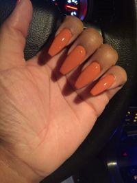 Fall orange coffin shape acrylic nails | Nail | Pinterest ...
