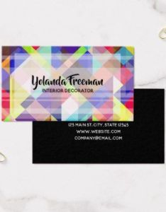 Colorful geometric shapes interior decorator business card stylist cards cyo personalize businesscard diy also rh pinterest