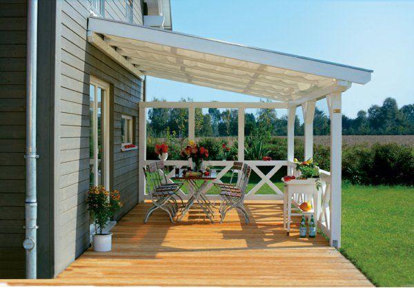 Terrassenüberdachung Stabile Holzbalken Weiß Pergolas Pinterest