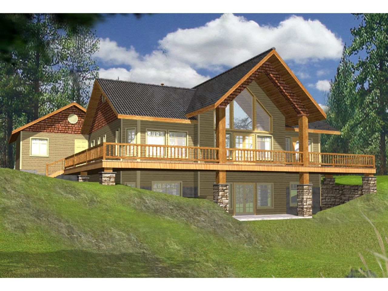 lake house plans with rear view wrap around lakefront