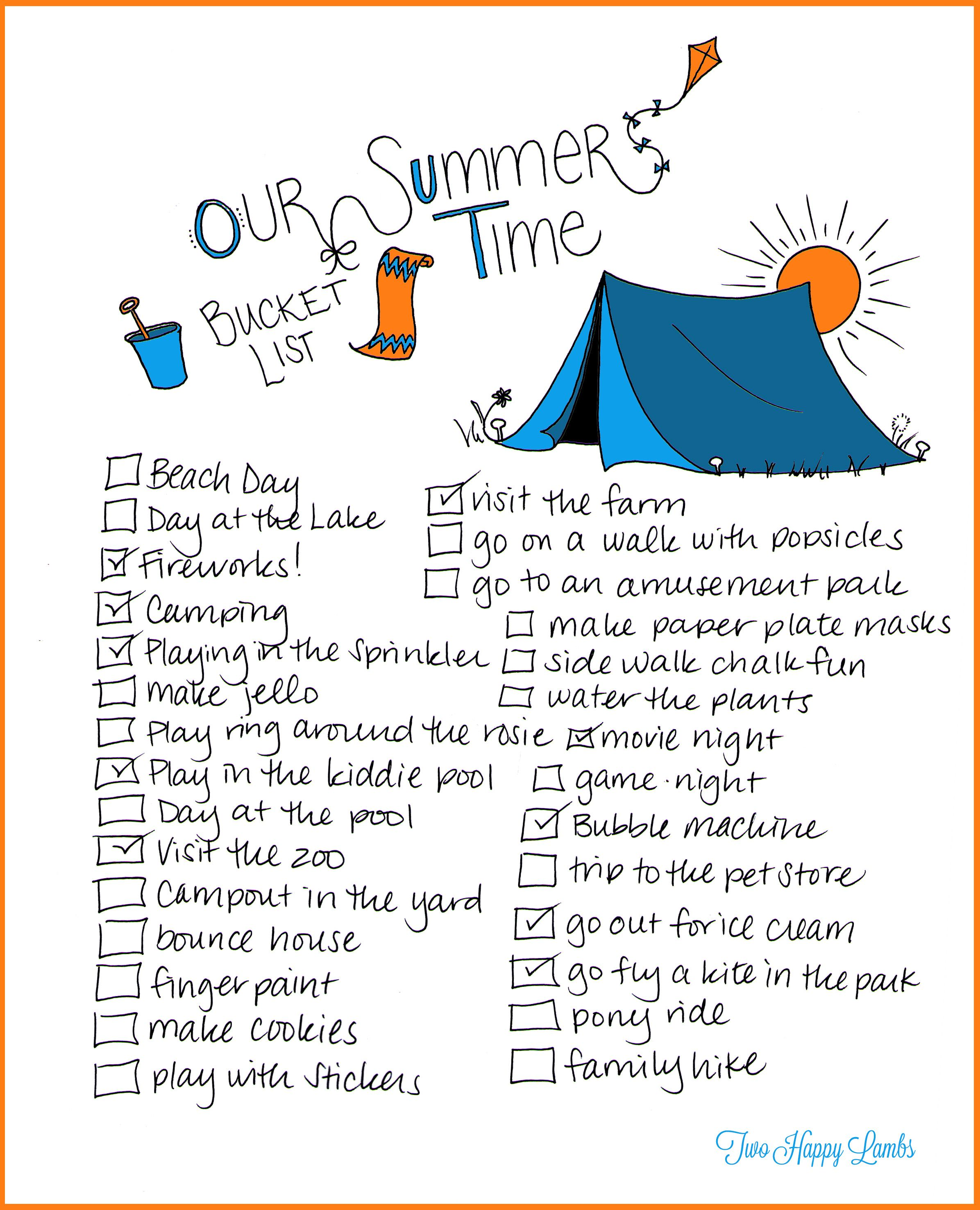 Summer Bucket List Printable Worksheet