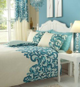 TEAL & CREAM DOUBLE BED SET WITH MATCHING CURTAINS 66 X 72